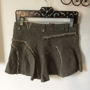 Vintage Skirts - SOLD bacca bocca Army Green Rough edge lace Mini